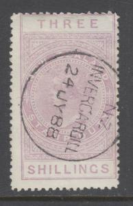 New Zealand Sc AR7v, SG F36, used. 1888 3sh mauve QV Postal Fiscal, sound