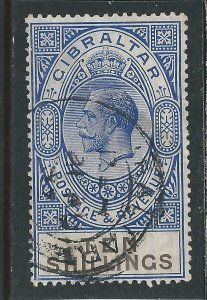 GIBRALTAR 1925-32 10s DEEP ULTRAMARINE & BLACK GU SG 106 CAT £80