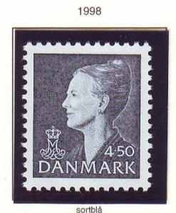 Denmark Sc 898 1998 4.50 kr deep blue black Queen stamp mint NH
