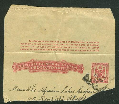British Central Africa  Used Dec 29,1900 wrapper H&G PC4