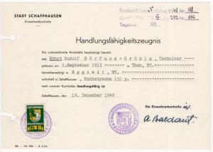 (I.B) Switzerland Revenue : Schaffhausen Local Tax 1Fr (complete document)