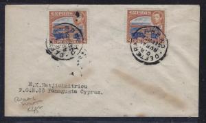 CYPRUS (P1609B) 1953 GVI 1/4P X2  RURAL POST TO FAMAGUSTA