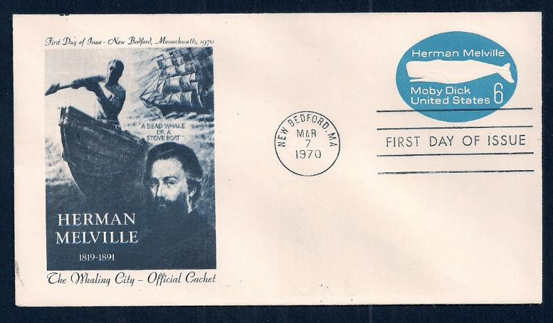 UNITED STATES FDC 6¢ Moby Dick Envelope 1970 Whaling City
