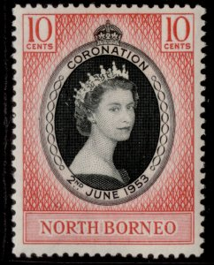 NORTH BORNEO QEII SG371, 10c black & bright scarlet 1953 CORONATION, M MINT.