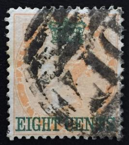 Malaya Straits Settlements 1867 India 8c on 2a D17 Cancel SG#6 CV£42
