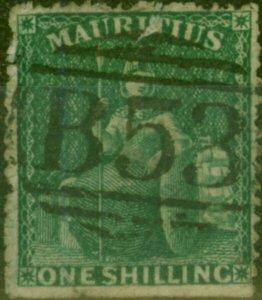 Mauritius 1862 1s Dp Green SG55 Poor Used Filler CV £350