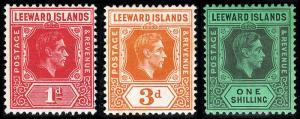 Leeward Islands Scott 105a, 109a, 111a (1942) Mint H VF, CV $35.40 B