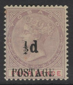 TOBAGO SG33 1896 ½d on 4d LILAC & CARMINE MTD MINT TONED