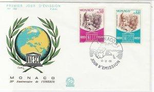Monaco 1966 20th Anniversary of UNESCO World+Wreath Pic FDC Stamp Cover Ref26411