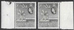 Aden # 72  Windmill 70c  New Watermark - shade varieties (2)  VLH Unused
