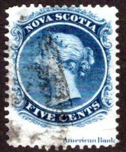Scott 10, Nova Scotia, imprint, Used,5 cents, Canada