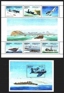 Maldives. 1995. Small sheet 2390-95, bl334. Battle of the Pacific. MNH.
