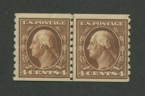 1912 United States Postage Stamp #395 Mint Never Hinged OG Line Pair Certified