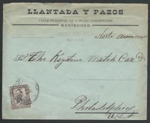 URUGUAY 1905 cover Montevideo to Philadelphia..............................11180
