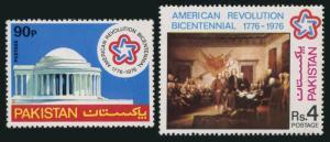 Pakistan 408-409,MNH.Michel 413-414. US-200,1976.Jefferson Memorial.