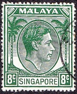 SINGAPORE 1952 KGVI 8c Green SG21a FU