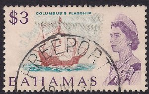 Bahamas 1967 - 71 QE2 $3 Columbus Flagship used SG 309 ( G13 )