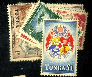 TONGA #100-13 MINT FVF OG LH YELLOWED GUM Cat $60