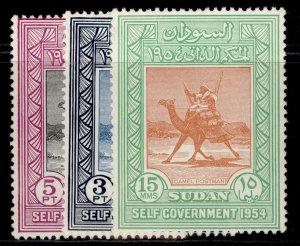 SUDAN QEII SG140-142, complete set, M MINT.