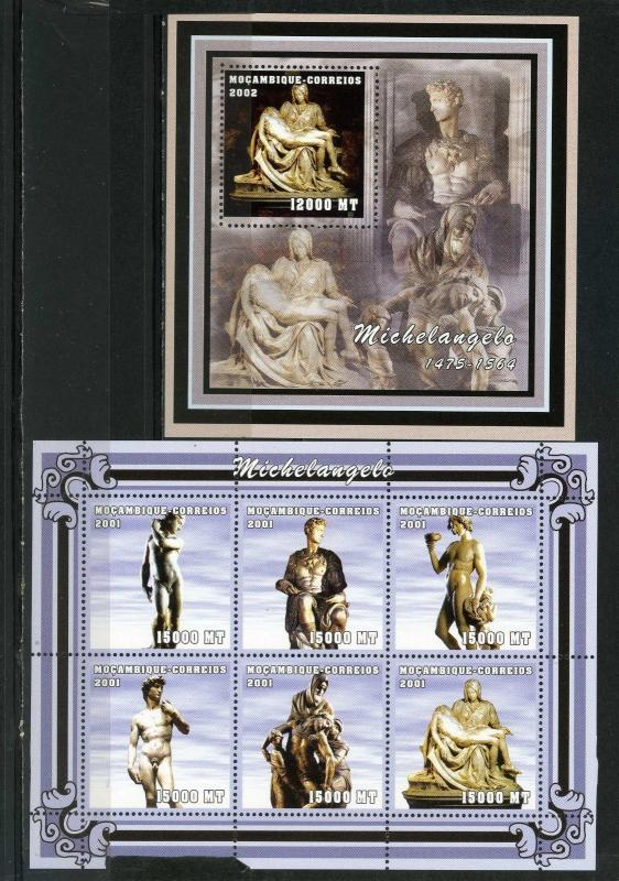 MOZAMBIQUE 2001 SCULPTURES BY MICHELANGELO SHEET OF 6 STAMPS & S/S MNH