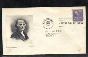 US #807-NIM Jefferson Unknown cachet addressed