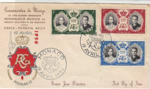 Monaco 1956 Commemorating Royal Marriage + Slogan Cancels Stamps Cover ref 22085