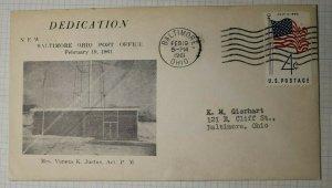 Dedication New Biltmore OH Post Office Vaneta K Justus Act PM 1961 Event Cover