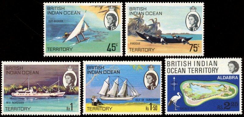 British Indian Ocean Territory -Sc #  34 - 38, MH.  2017 SCV $7.40