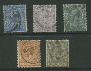 Great Britain #163-166,168 FU 1912  Short Set of 5 Stamps