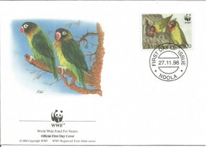 World Wildlife Fund Lovebirds 1996 Official First Day Cover Ndola Postmark U3579