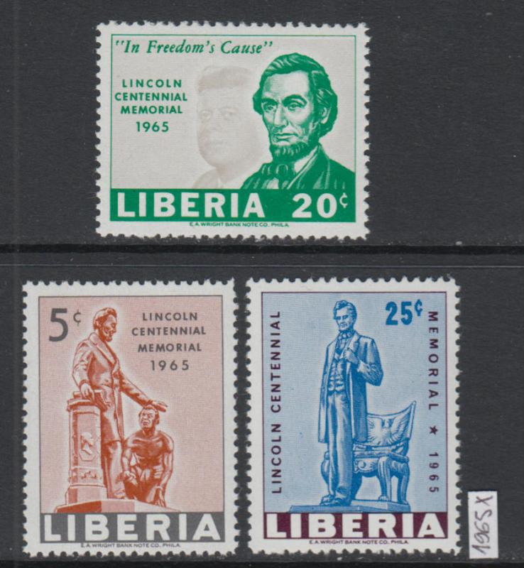 XG-W898 LIBERIA - Lincoln, 1965 Centennial, 3 Values MNH Set