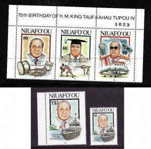 Tonga Niuafo'ou-Sc#160-2- id2-Unused NH set-King Tauta'ahau-75th Birthday-1993-