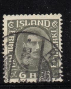 Iceland Sc 179 1931 6 aur dark gray Christian X stamp used