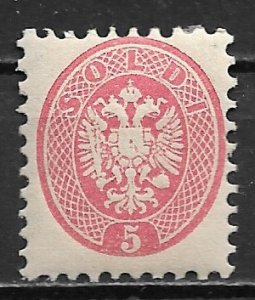 1864 LOMBARDY-VENETIA Sc22 Coat of Arms 5s MLH