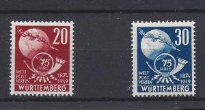 Germany (Wurttemberg), 8N40-41, UPU Type Singles,**MNH**