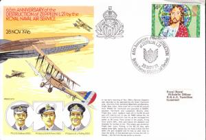 1981 British WWI Event Cover. The 1916 Shooting down of a German Zeppelin