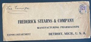 1920s Penang Malaya Commercial cover To Detroit MI Usa Via Europe