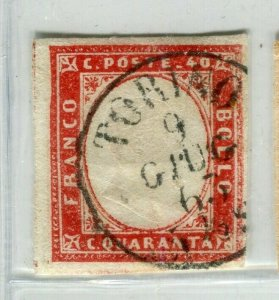 ITALY; SARDINIA 1855 early classic Imperf issue fine used Shade 40c. value