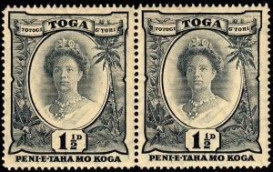 Tonga 1935 Sg56 1½d Grey-black Wmk Tortoises Pair MNH