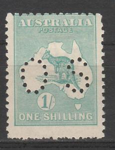 AUSTRALIA 1915 KANGAROO OS 1/- 3RD WMK