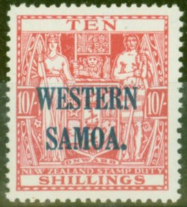 Western Samoa 1946 10s Carmine-Lake SG209 V.F MNH