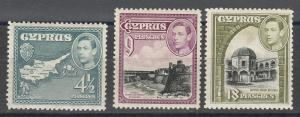 CYPRUS 1938 KGVI PICTORIAL 41/2PI 9PI AND 18PI