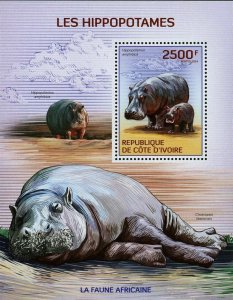 Hippopotamus Stamp Hippo Hippopotamus Amphibius Choeropsis Liberiensis S/S MNH