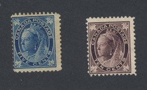 2x Canada Victoria Leaf Mint Stamps #70-5c MH  #73-10c MNG Guide Value = $142.00