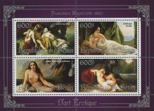 Erotic Art Paintings Francesco Hayez Souvenir Sheet of 4 Stamps Mint NH