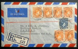 1951 Lagos Nigeria Airmail Cover To Jersey Channel Island England