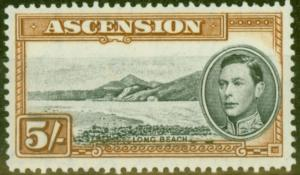 Ascension 1944 5s Black & Yellow-Brown SG46c P.13 V.F MNH