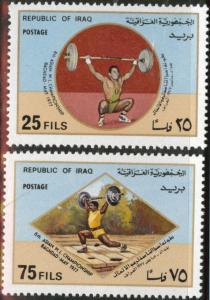 IRAQ Scott 817-8 MNH** 1977 weight lifting set
