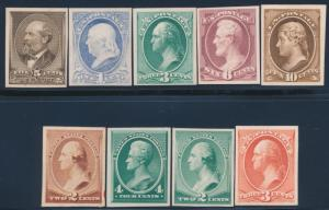 #205P4-214P4 1881-1883 PLATE PROOFS ON CARD -- VF -- CV $285 BS9936