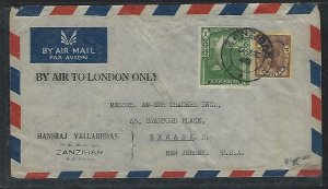 ZANZIBAR  (PP2608B)1948  COVER  SULTAN 25C+ 1/- A/M TO USA,BY AIR TO LONDON ONLY